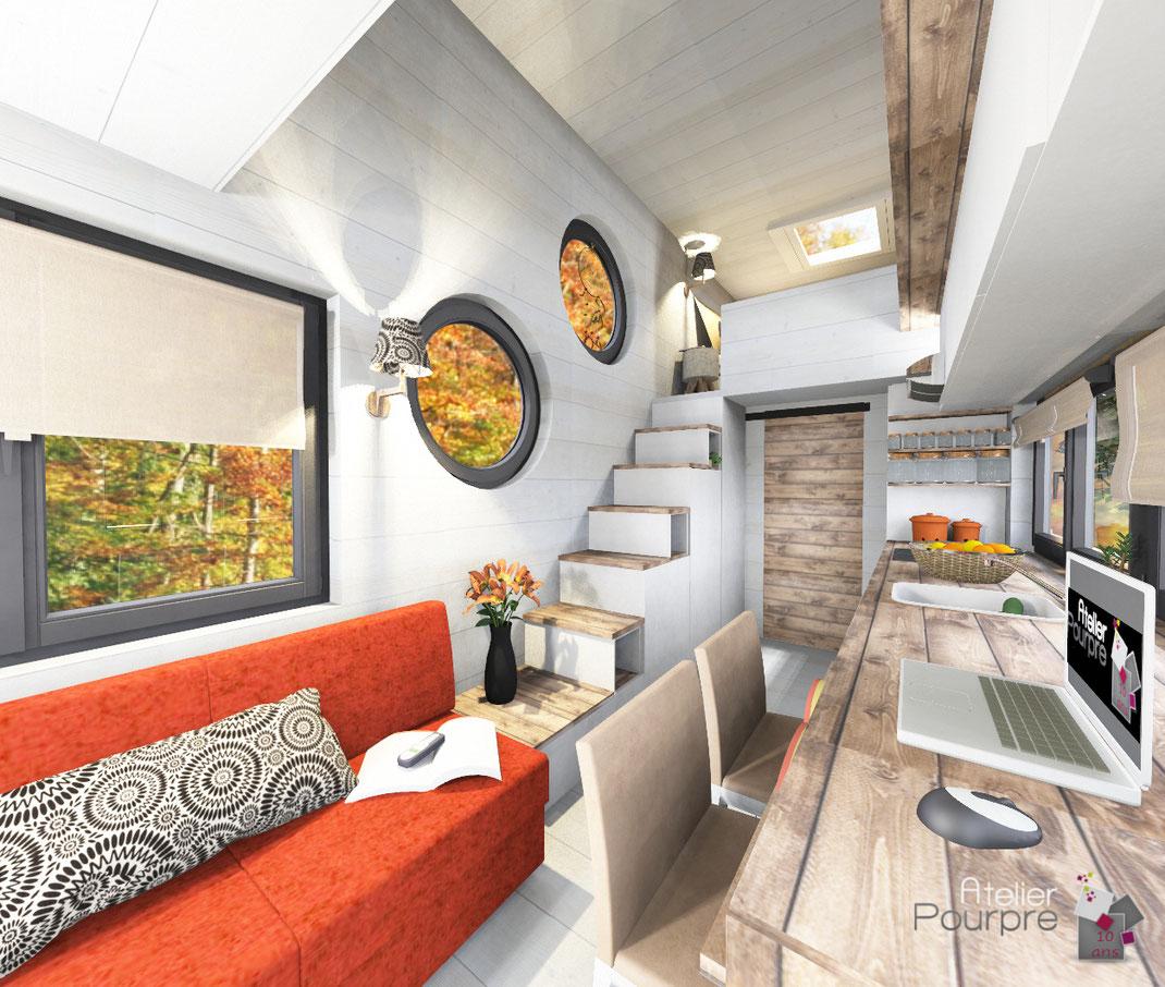 aménagement, intérieur, Tiny, House