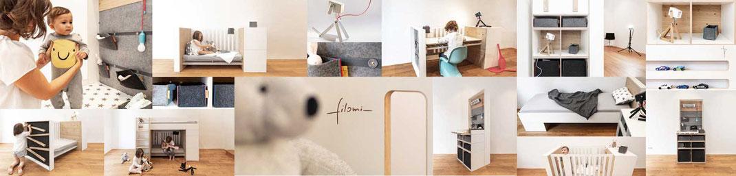 Produkte von Filomi - Design Möbel System für Kinderzimmer, Jugendzimmer, flexibel, umbaubar, modular, stylisch. Kindermöbel, Kinderbett, Babybett, Jugendbett, Hochbett, Umbauset. Made in Germany