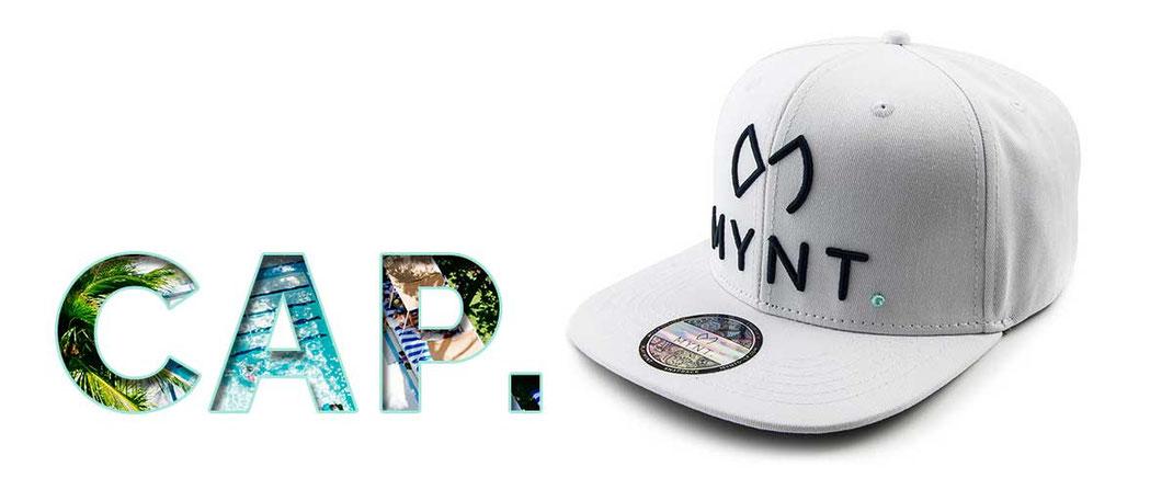 MYNT Premium Golf Cap in Edelweiss mit Blauer 3D Stickerei