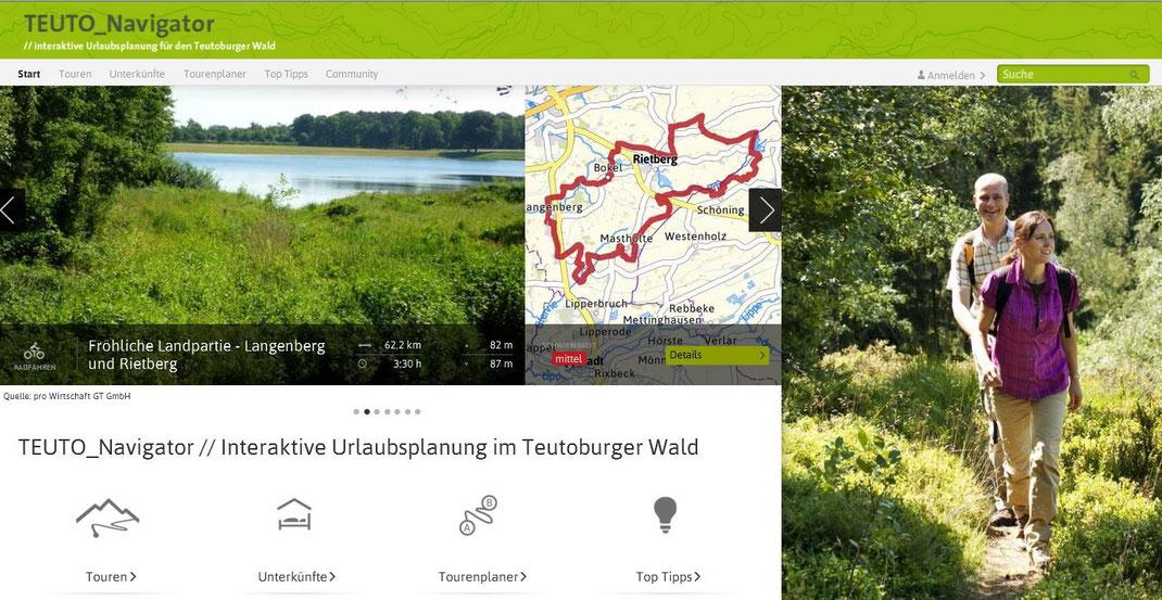 Hier klicken zum TEUTO_Navigator, der interaktiven Karte für Wandertouren und weitere Freizeitmöglichkeiten in der Urlaubsregion Teutoburger Wald