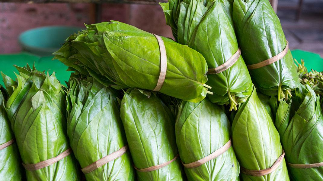 Feuilles de bétel sur un marché (Inde du sud).