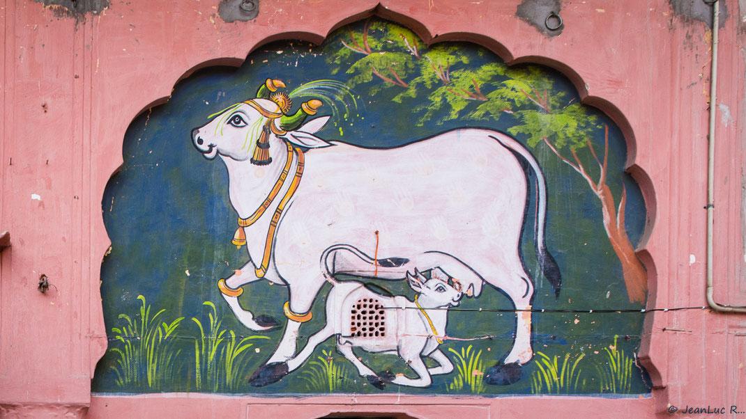 Fresque moghole (détail - Jaipur).