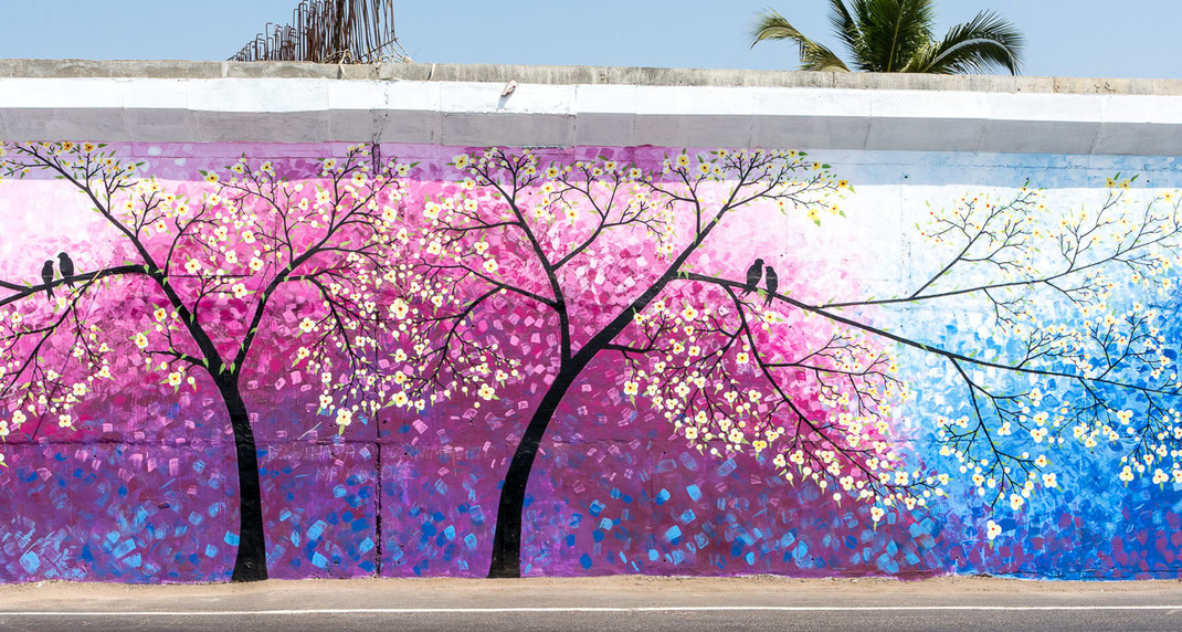 Peinture murale à Vijayawada au bord de la route (Andhra Pradesh - Inde du Sud)