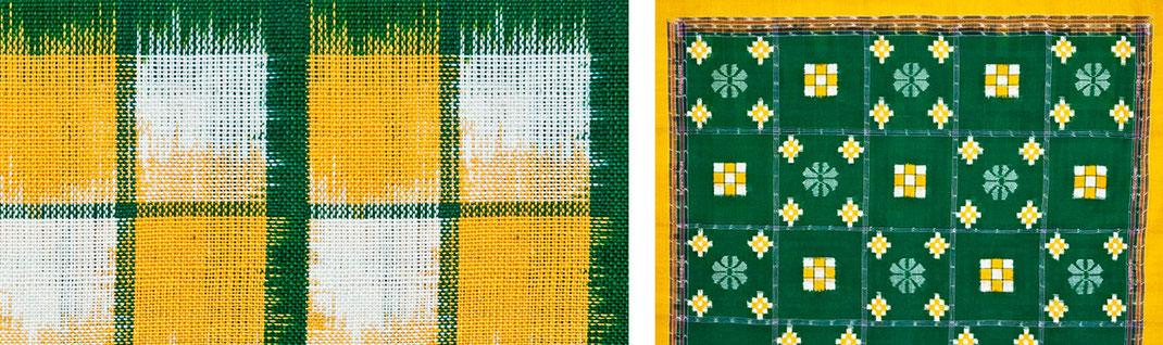 """Détail d'un """"double ikat"""". La longueur des fils jaunes dépasse le motif en raison du tissage et de la pénétration de la couleur aux extrémités des ligatures."""