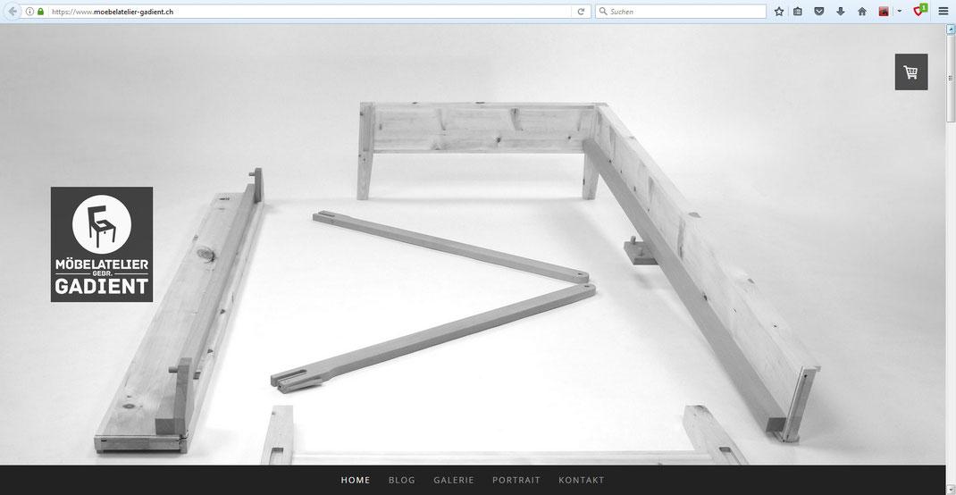 Printscreen Startseite mit Arven-Bett aus der Kollektion