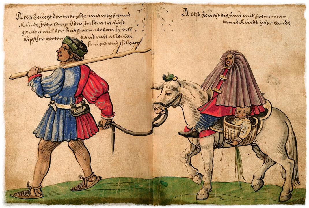Ilustraciones de Christoph Weiditz. Este pintor alemán reflejó los vestidos y costumbres de los moriscos en su viaje por España (1529)