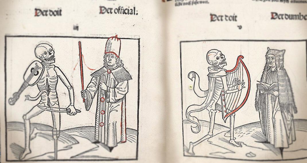 """""""Danzas de la Muerte"""". Fragmento del Totentanz, conservado en la biblioteca de Heidelberg, (Alemania)."""