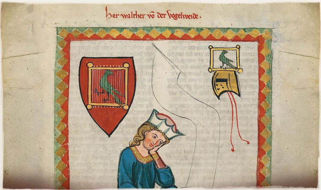 Miniatura del Codex Manesse representando a Vogelweide. En su escudo de armas aparece un pájaro enjaulado.