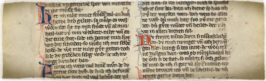 Fragmento con poemas de Walter von der Vogelweide, en el Codex Manesse.