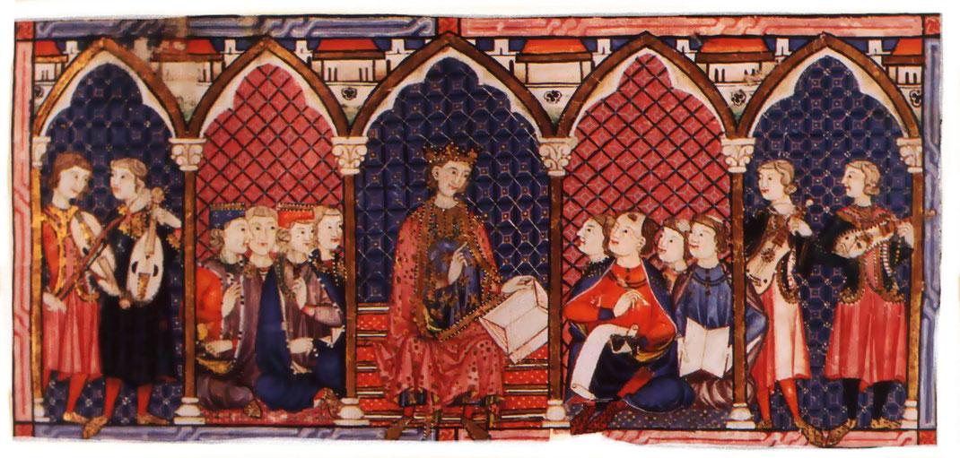 Ilustración en las Cantigas. Músicos y escribas, con el rey dirigiendo en el centro. A la izquierda, músicos con violas. A la derecha, músicos con cítolas.