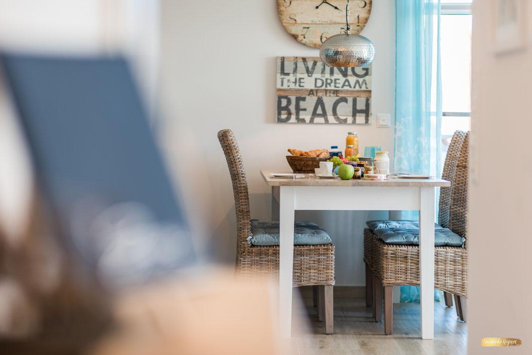Foto Esszimmer Ferienwohnung gedeckter Tisch Ambiente