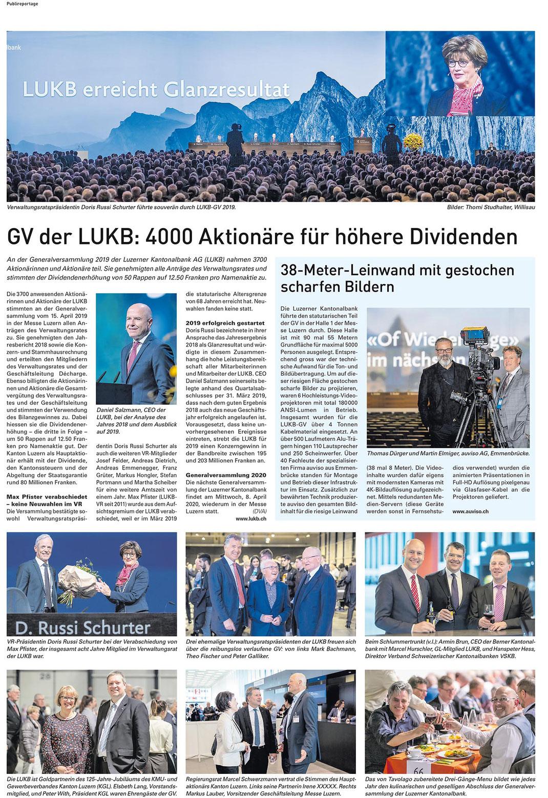 Publipreportage Zentralschweiz am Sonntag 21. April 2019