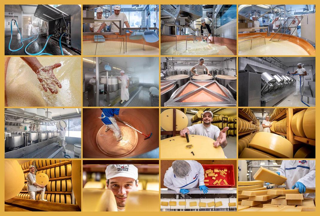 Fotodokumentation Herstellung von Sbrinz-Käse im Auftrag Emmi Schweiz AG und Sbrinz Käse GmbH