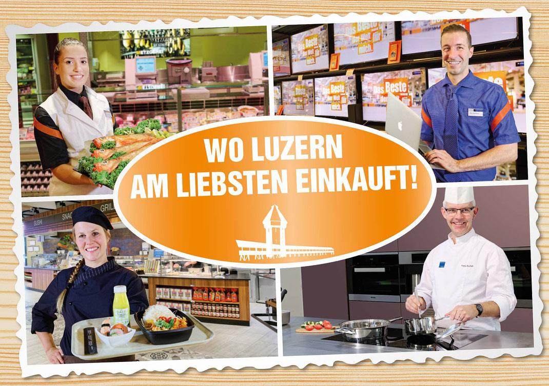 Keyfoto Gesamteröffnung Migros Schweizerhof Luzern für Plakate, Postkarten, Flyer, Inserate und Web