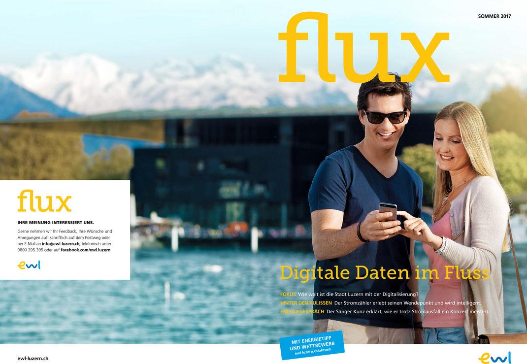 Die Sommerausgabe 2017 des Kundenmagazins flux von energie wasser luzern ewl befasst sich mit dem wachsenden Angebot an digitalen Daten in der Stadt Luzern.