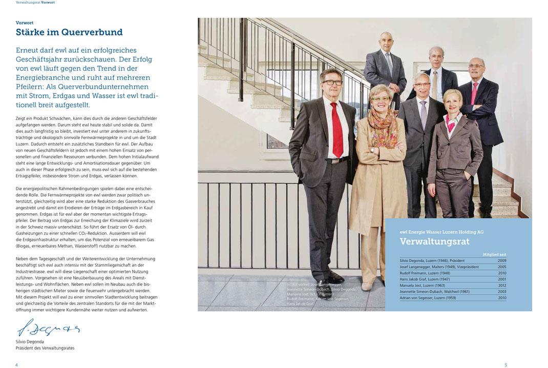 Verwaltungsrat ewl im Geschäftsbericht 2015 der energie wasser luzern.