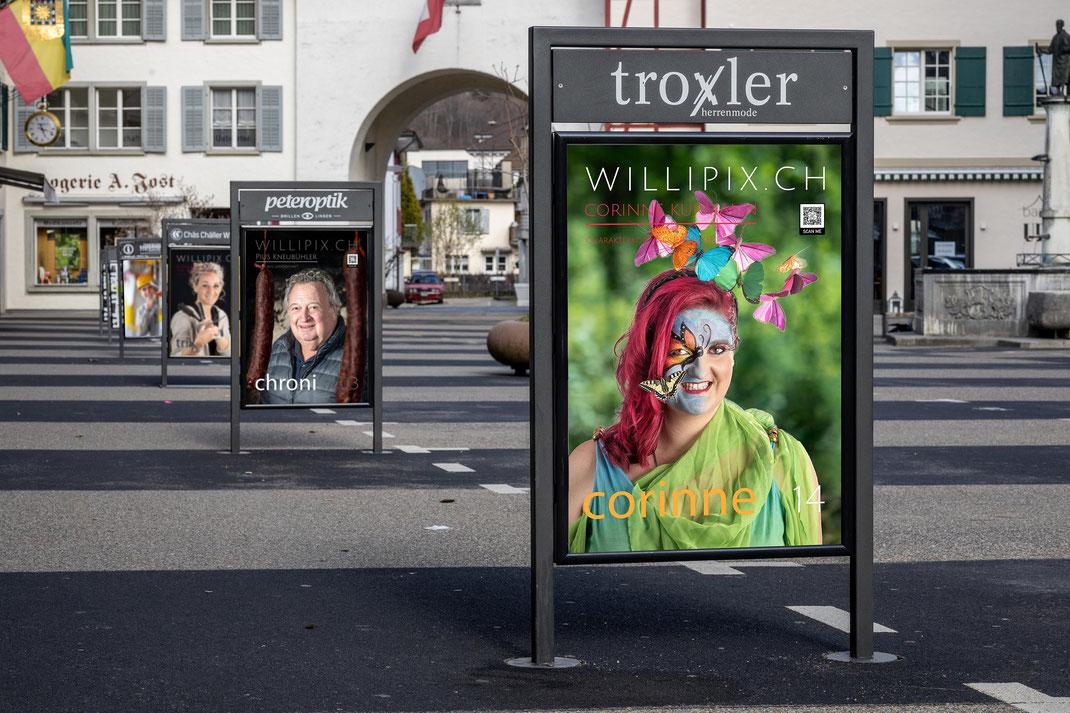 Visualisierung Willipix-Fotoausstellung in der Hauptgasse Willisau