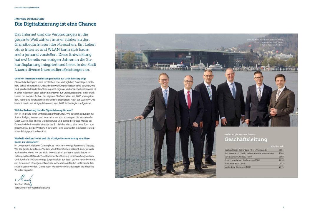 Die Geschäftsleitung energie wasser luzern ewl in der Seebadi Luzern (3.4.2017)