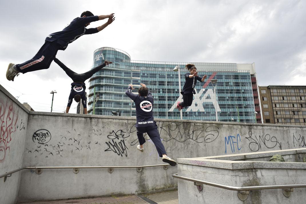 Parkour performers stuntman Italia