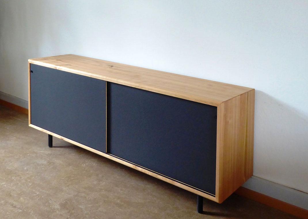 Sideboard Kirschbaum Massivholz, Türen Linoleum