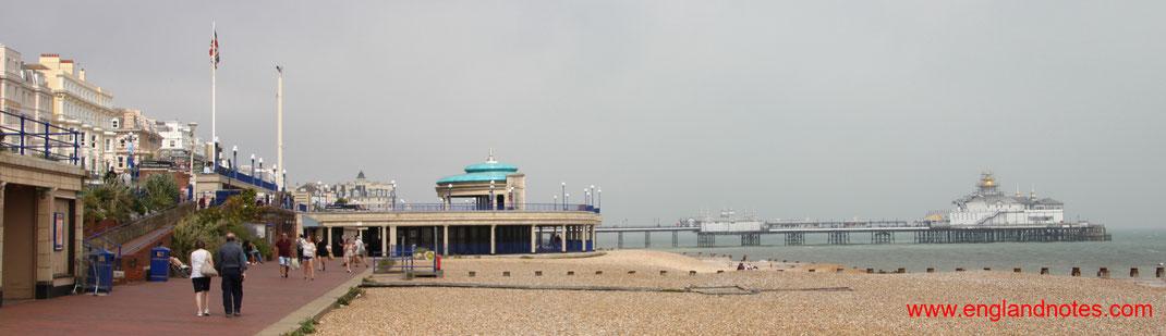 Sehenswürdigkeiten und Reisetipps Eastbourne, England: Strandpromenade, Bandstand und Eastbourne Pier
