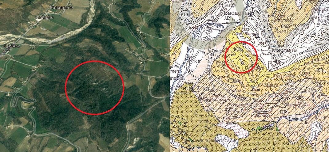 Mappa dell'area e carta geologica (fonte: ISPRA)