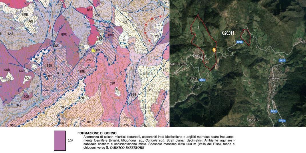 Carta geologica del luogo (fonte: ISPRA carte 1:50000) e ubicazione degli affioramenti della formazione di Gorno