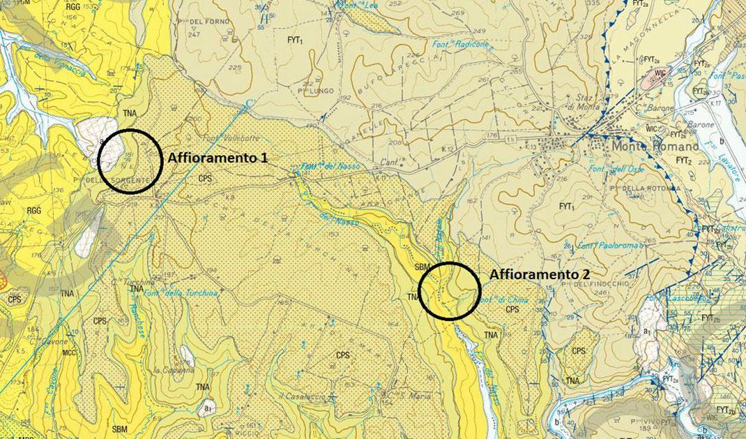 Fonte: carta geologica d'Italia 1:50.000 ISPRA