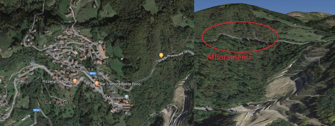 Mappa del luogo; gli affioramenti sono sul bordo della strada SP26, nei pressi di Dossena (BG).