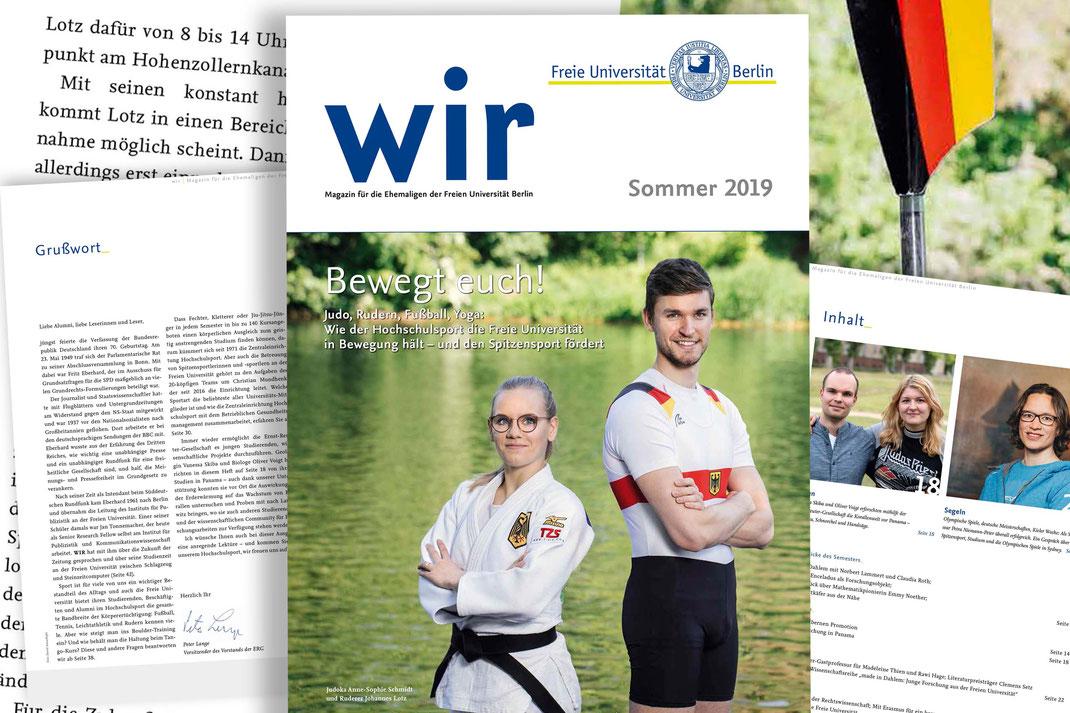 """Judoka Anne-Sophie Schmidt und Ruderer Johannes Lotz zieren die Titelseite der Sommerausgabe des Magazins """"wir"""". Collage: 2000meter.de"""