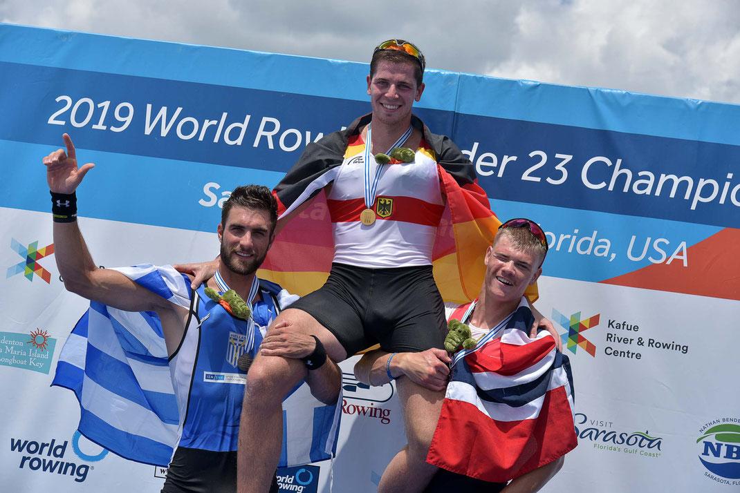 Stefanos Ntouskos, Marc Weber,  Jonas Juel. Foto: 2000meter.de