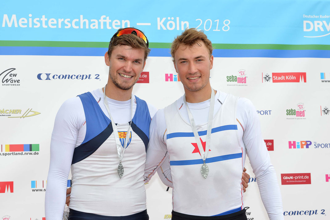 Nach Gold 2017 folgt Silber 2018: Johannes Lotz (links) und Anton Finger. Foto: 2000meter.de