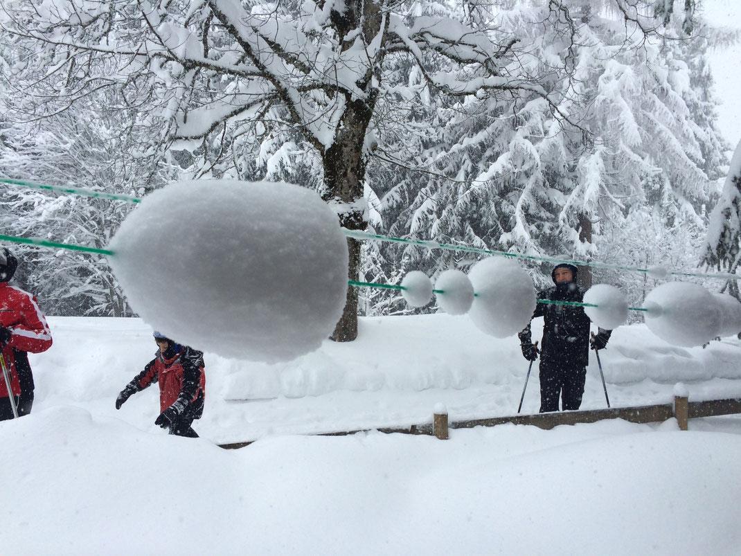 Schnee Wäscheleine