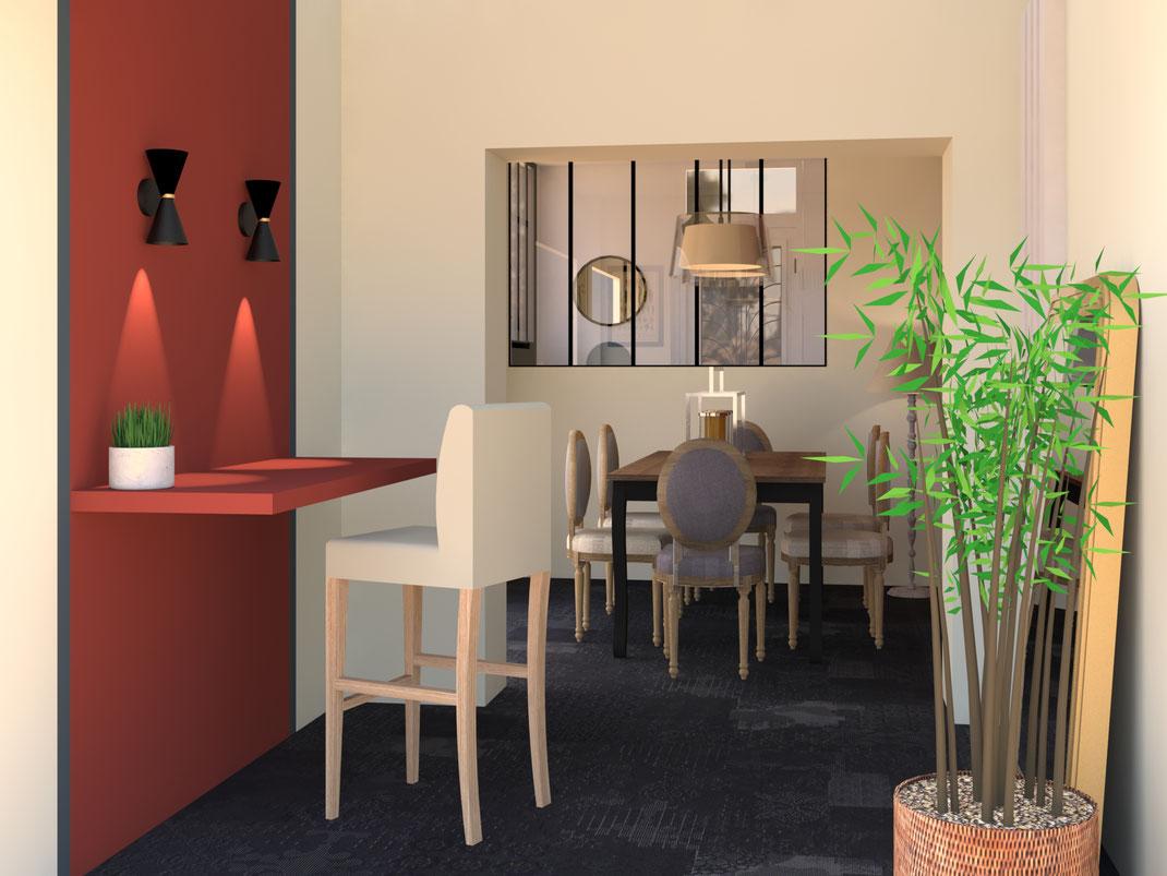 Décoration et aménagement séjour salle à manger, verrière d'atelier, bureau intégré au mur, couleur chaude, carrelage mutina, appliques Made, espace cosy.