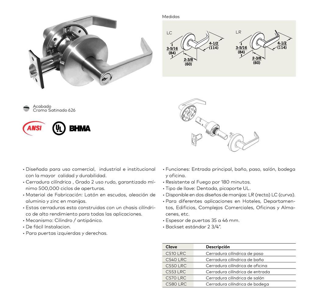 Cerraduras cilíndrica C500 grado 2