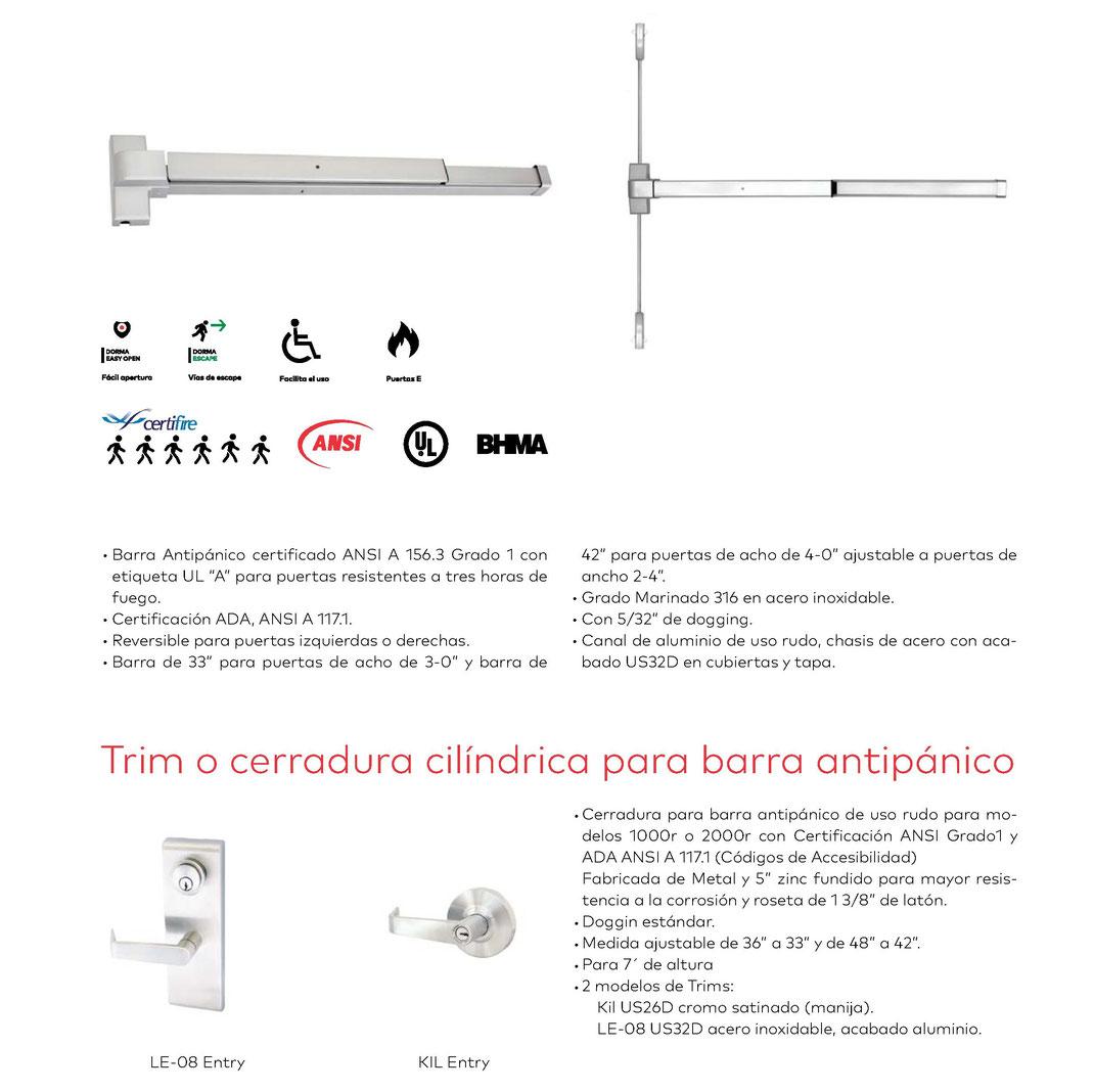 Barra antipánico vertical Serie 2000 V