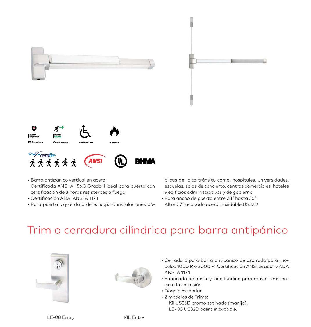 Barra antipánico vertical Serie 1000 V