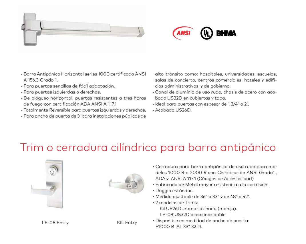 Barras antipánico horizontal Serie 1000 R