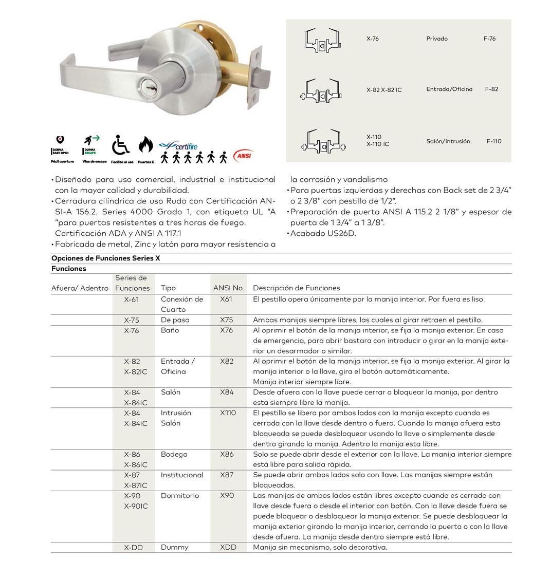 Cerradura cilíndrica X grado 1