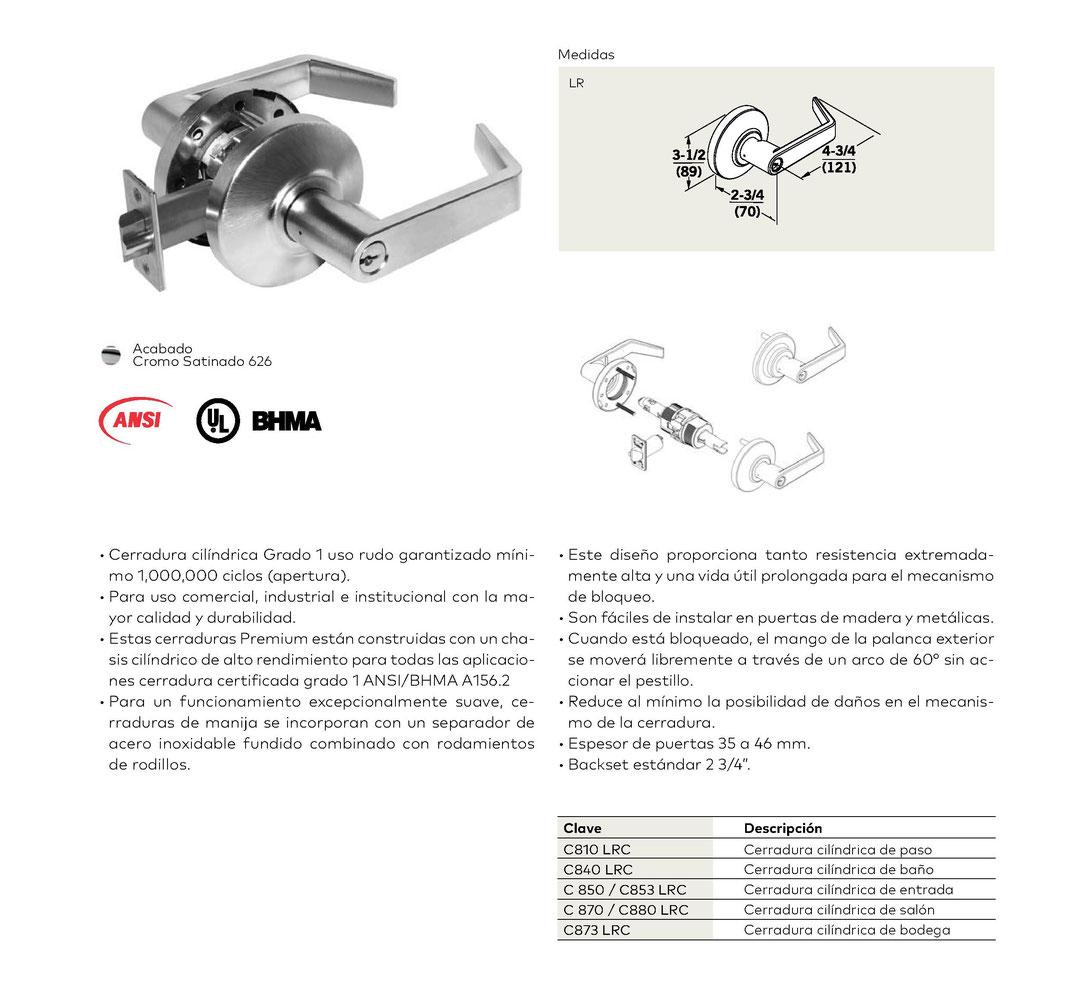 Cerradura cilíndrica C800 grado 1