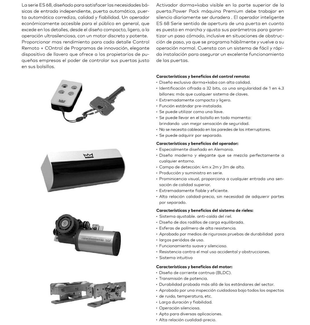 Operador para puerta automática corrediza ES 68