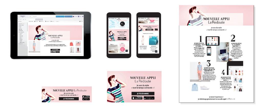 Créa pour le lancement de la nouvelle Appli La Redoute / web / print