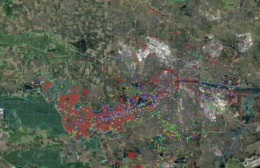 Alle Beobachtungseingaben im Jahr 2019 mit Schutzgebieten (Basis Google-Earth/ Copyright LBV Ingolstadt)