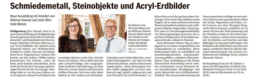 Artikel und Bild aus dem Südkurier vom 10. 1. 2018  von Bernhard Conrads über die Ausstellung in Aller ART, Kunst & Werk in Heiligenberg