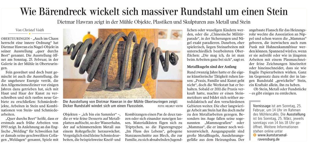 Artikel aus der Schwäbischen Zeitung FN vom 24. 2. 2018 von Christel Voith mit Bild von Helmut Voith