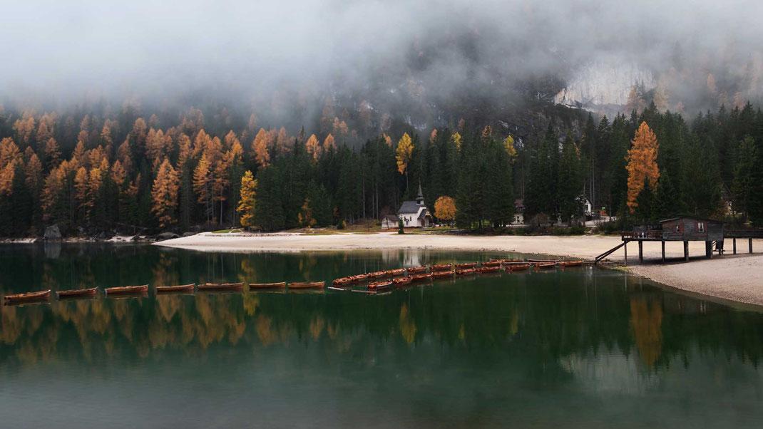 Pragser Wildsee, Seekofel, Bootshaus, Lago di Braies
