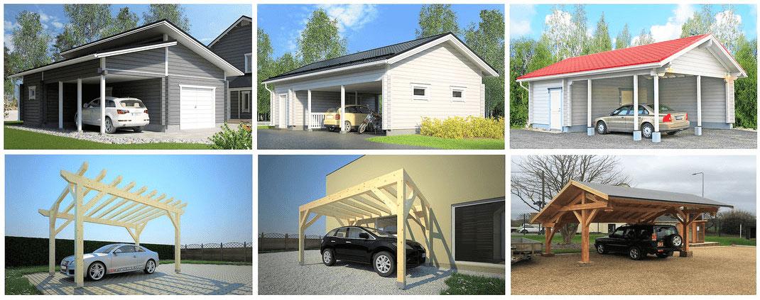 Garage en bois, maison en bois