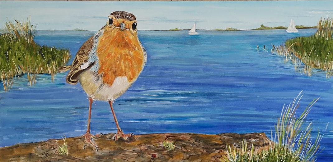 "Giant robin""In Friesland"" 120x80 cm"