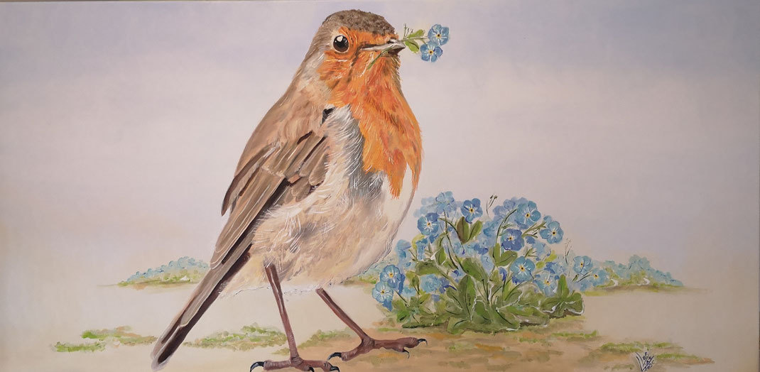 """5. Giant robin """"Forget-me-not""""120x60cm"""