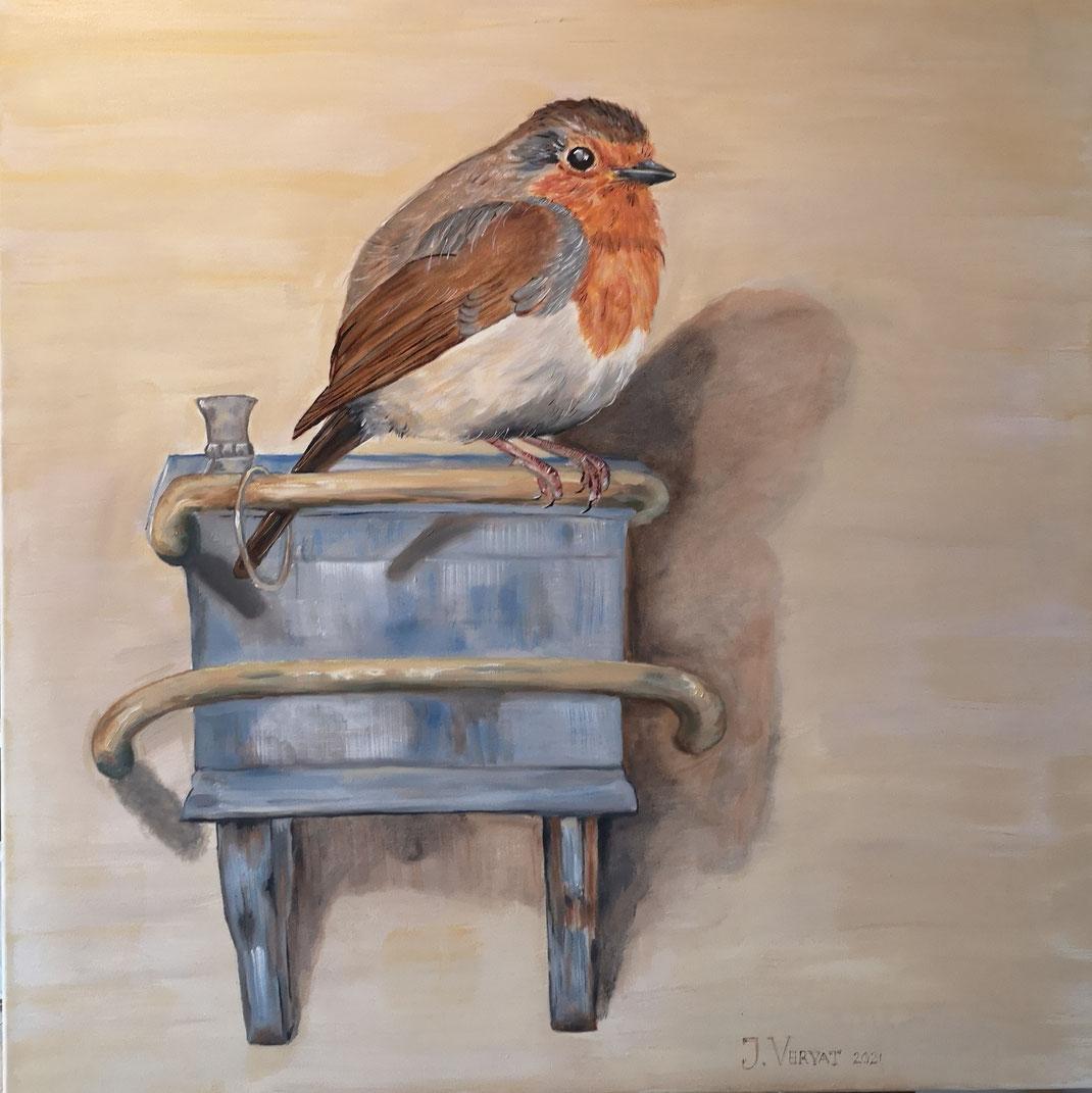 13. Giant robin...Het roodborstje van J. Vervat 80x80cm
